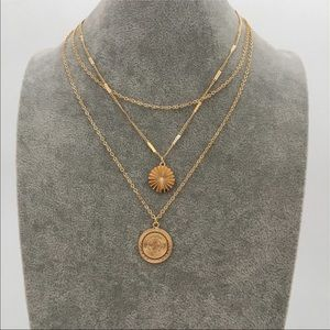 Gold coin layered necklaces